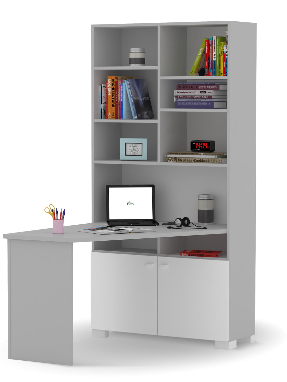 Bookcase Desk Right Uni Grey